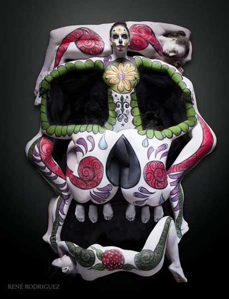 amazing-body-painting-Sugar-skull
