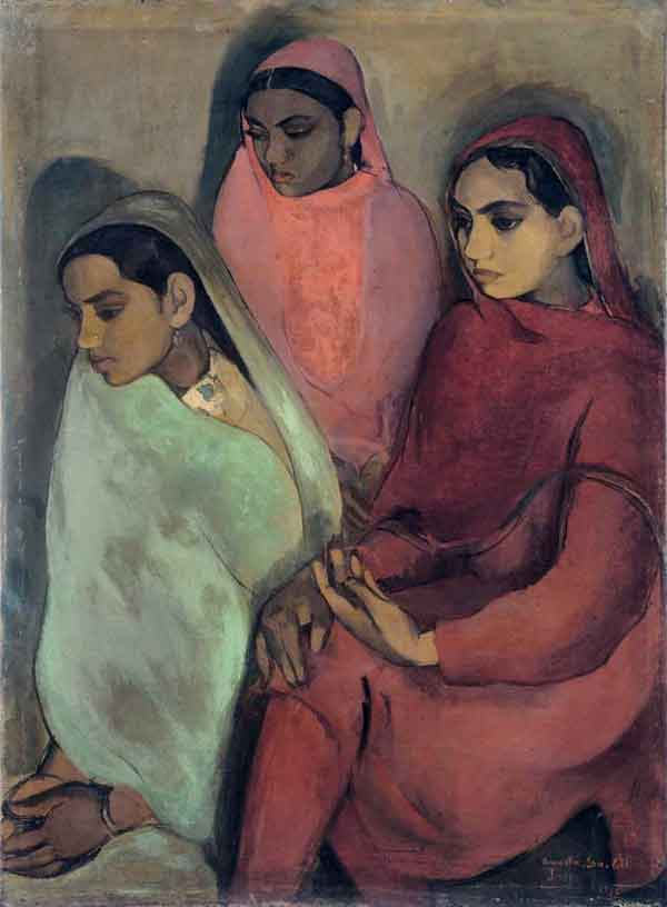 top-10-famous-indian-paintings-Three-Girls