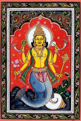 indian-folk-art-tribal-art-paintings-styles-Patachitra-Painting-Lord-Vishnu-Matsya-Avtar